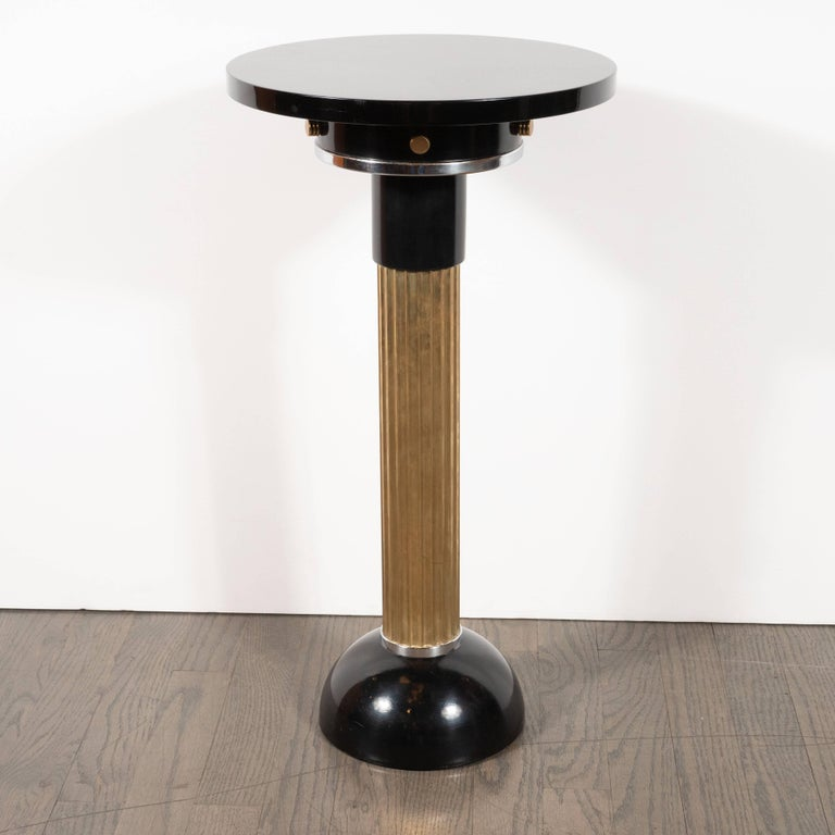 Art Deco Machine Age Black Lacquer, Enamel, Brass and Chrome Drinks Table For Sale 1