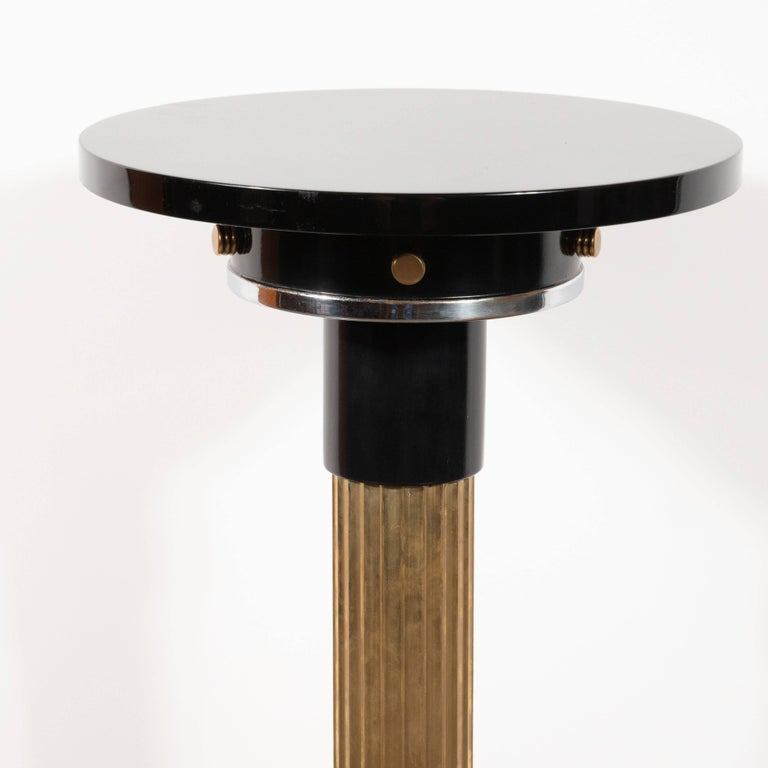 Art Deco Machine Age Black Lacquer, Enamel, Brass and Chrome Drinks Table For Sale 2