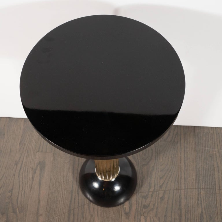 Art Deco Machine Age Black Lacquer, Enamel, Brass and Chrome Drinks Table For Sale 3
