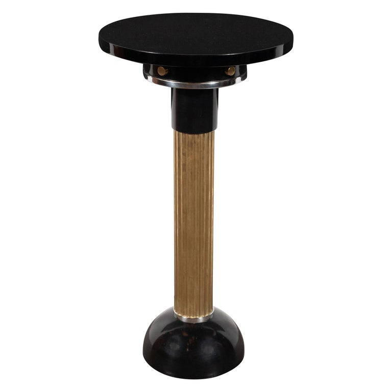 Art Deco Machine Age Black Lacquer, Enamel, Brass and Chrome Drinks Table For Sale
