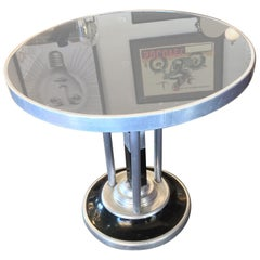 Art Deco Machine Age Black Vitrolite and Polished Aluminium Coffee Side Table