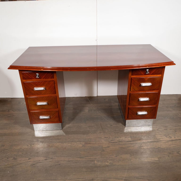 French Art Deco Machine Age Bookmatched Bowfront Rosewood Desk with Nickel Wrapped Base For Sale