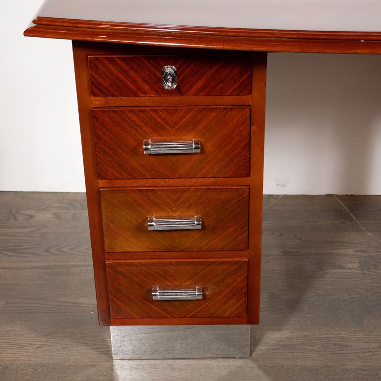 Art Deco Machine Age Bookmatched Bowfront Rosewood Desk with Nickel Wrapped Base In Excellent Condition For Sale In New York, NY