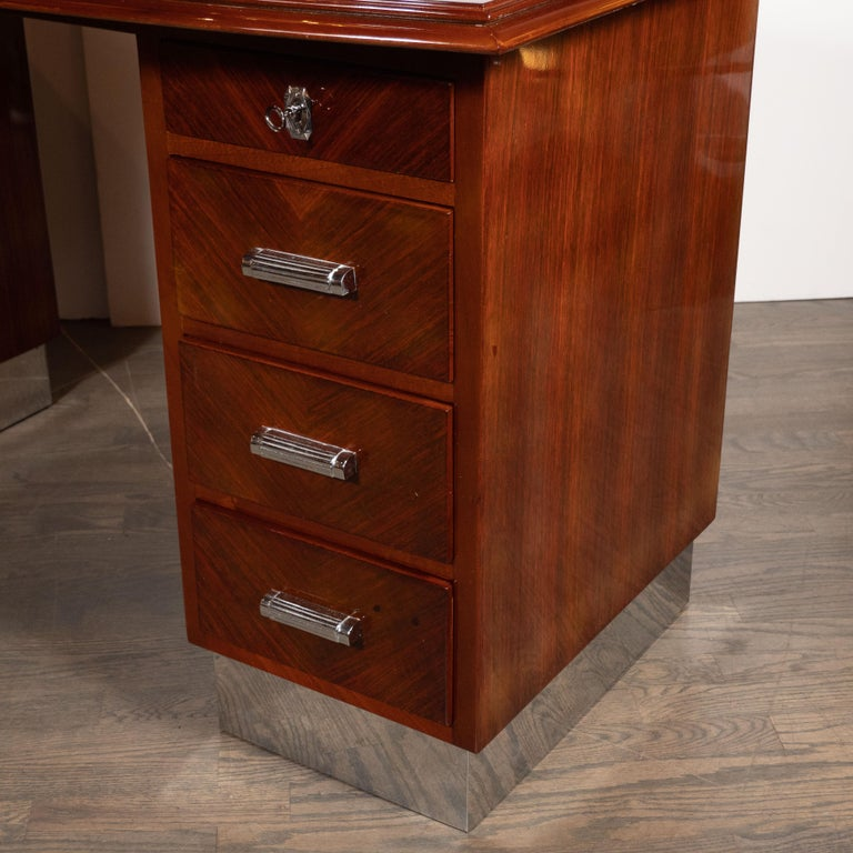 Chrome Art Deco Machine Age Bookmatched Bowfront Rosewood Desk with Nickel Wrapped Base For Sale