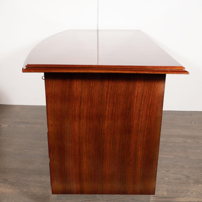 Art Deco Machine Age Bookmatched Bowfront Rosewood Desk with Nickel Wrapped Base For Sale 1