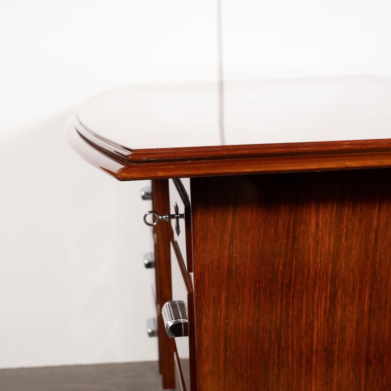 Art Deco Machine Age Bookmatched Bowfront Rosewood Desk with Nickel Wrapped Base For Sale 2