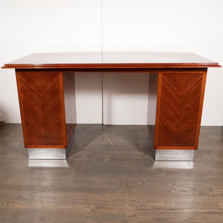 Art Deco Machine Age Bookmatched Bowfront Rosewood Desk with Nickel Wrapped Base For Sale 3