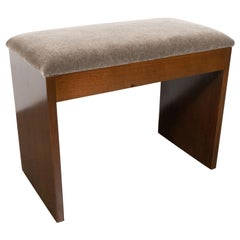 Art Deco Machine Age Bookmatched Walnut and Slate Gray Mohair Bench
