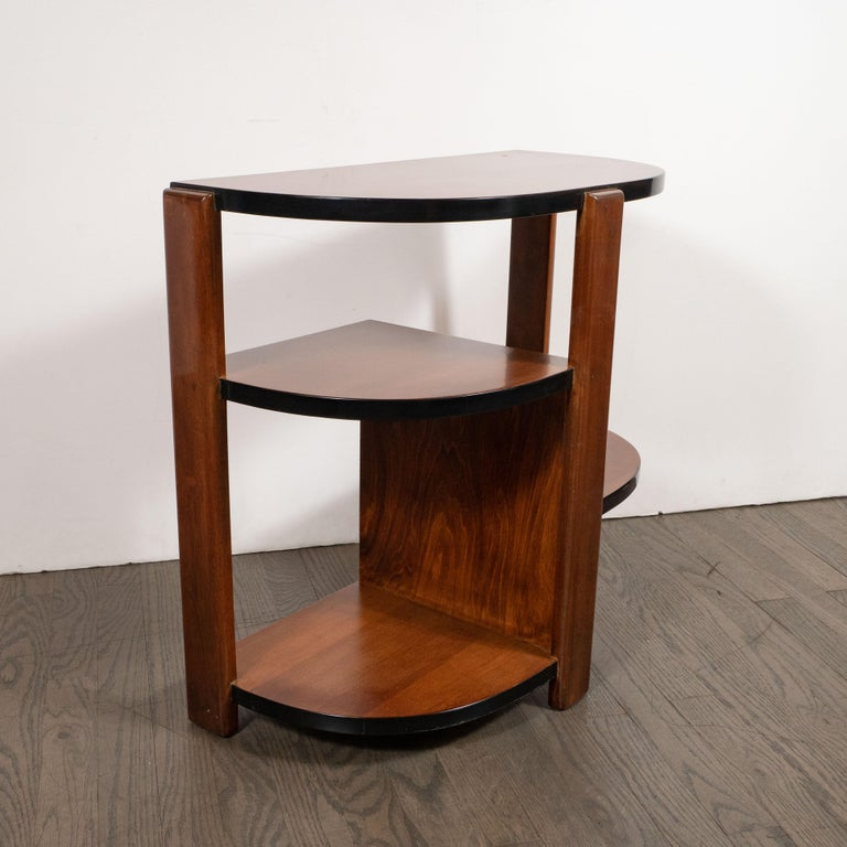 Art Deco Machine Age Bookmatched Walnut & Black Lacquer 4-Tier End/Side Table For Sale 5