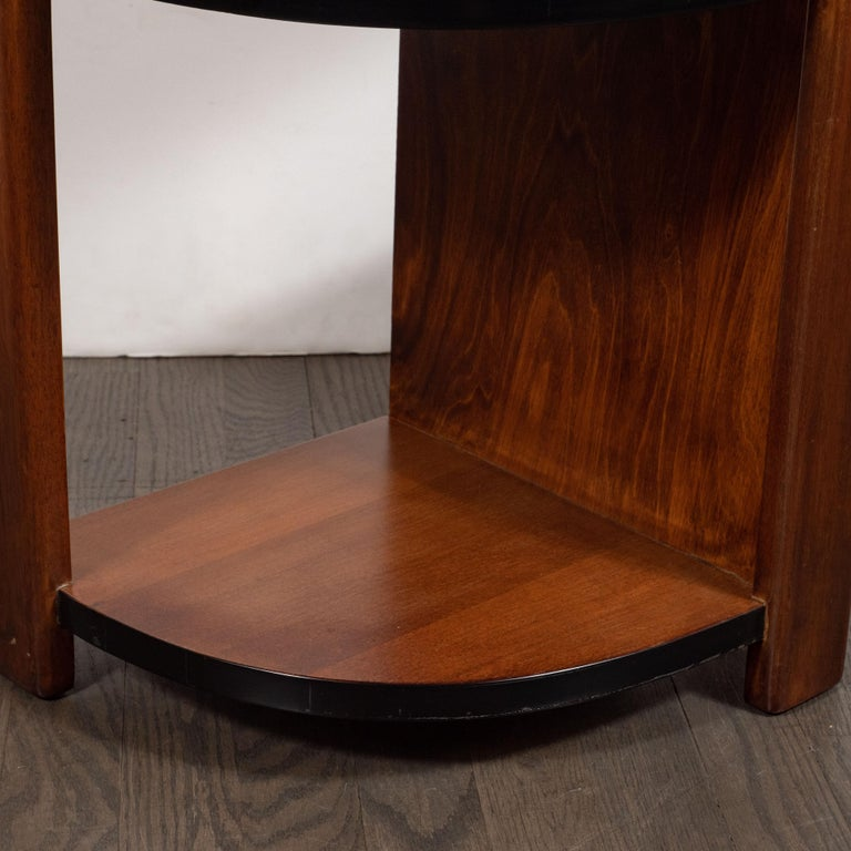 Art Deco Machine Age Bookmatched Walnut & Black Lacquer 4-Tier End/Side Table For Sale 6
