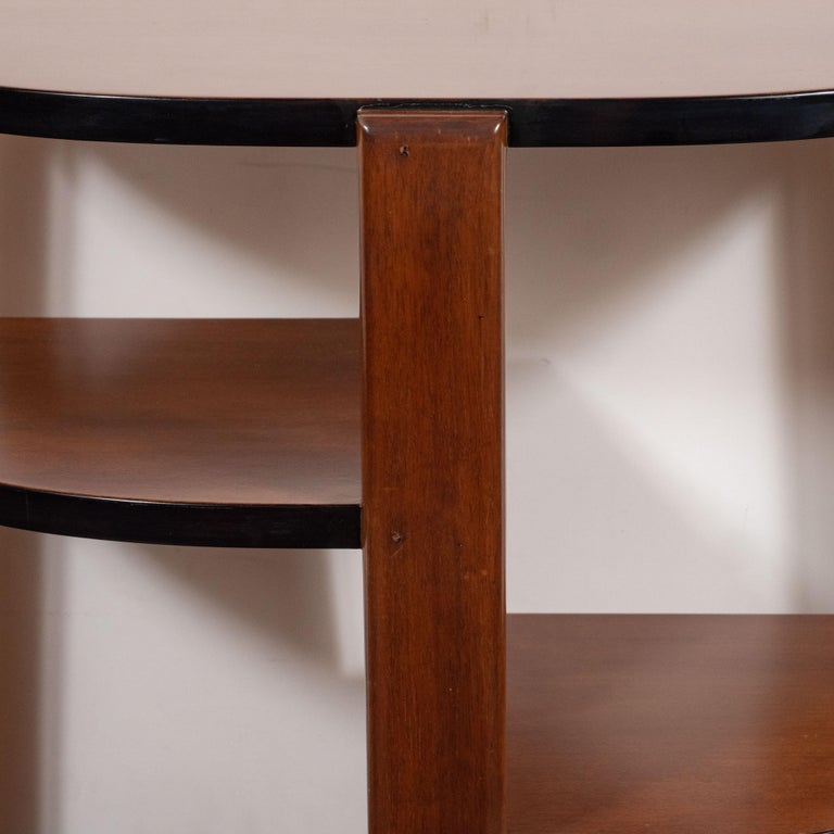 American Art Deco Machine Age Bookmatched Walnut & Black Lacquer 4-Tier End/Side Table For Sale