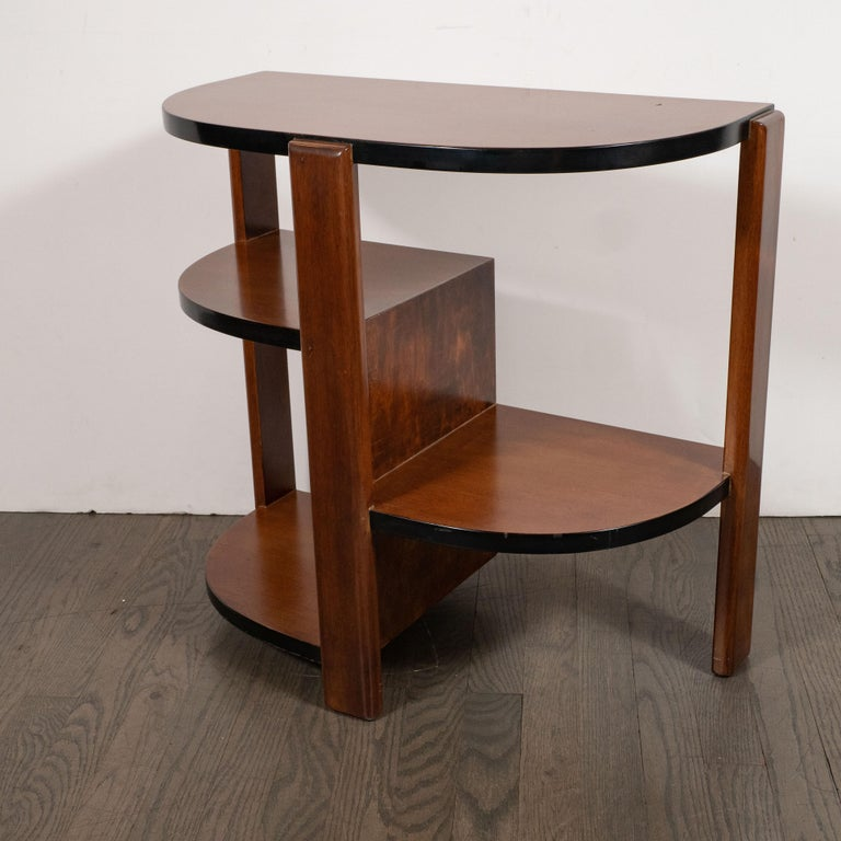 Mid-20th Century Art Deco Machine Age Bookmatched Walnut & Black Lacquer 4-Tier End/Side Table For Sale