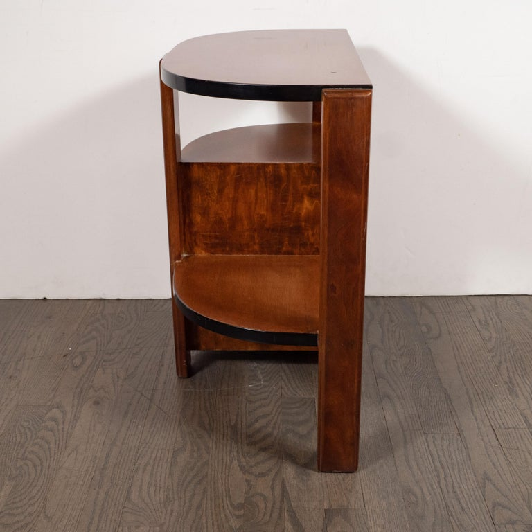 Art Deco Machine Age Bookmatched Walnut & Black Lacquer 4-Tier End/Side Table For Sale 1