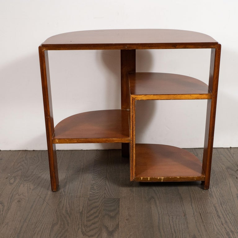 Art Deco Machine Age Bookmatched Walnut & Black Lacquer 4-Tier End/Side Table For Sale 2