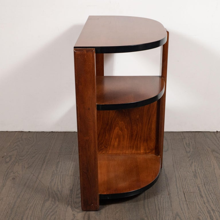 Art Deco Machine Age Bookmatched Walnut & Black Lacquer 4-Tier End/Side Table For Sale 3