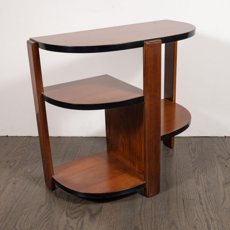Art Deco Machine Age Bookmatched Walnut & Black Lacquer 4-Tier End/Side Table For Sale 4