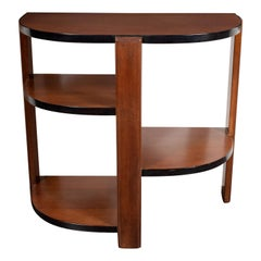 Art Deco Machine Age Bookmatched Walnut & Black Lacquer 4-Tier End/Side Table