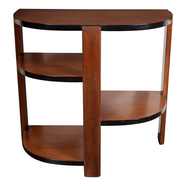 Art Deco Machine Age Bookmatched Walnut & Black Lacquer 4-Tier End/Side Table For Sale
