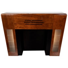 Art Deco Machine Age Bookmatched Walnut, Lacquer & Textured Glass Fireplace