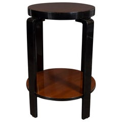 Art Deco Machine Age Bookmatched Walnut Two-Tier Walnut and Black Lacquer Table