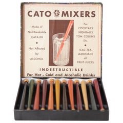 Art Deco Machine Age Catalin Cocktail Muddlers in Original Box Swizzle Sticks