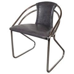 Art Deco Machine Age Chrome and Gauffraged Crocodile Leather Chair