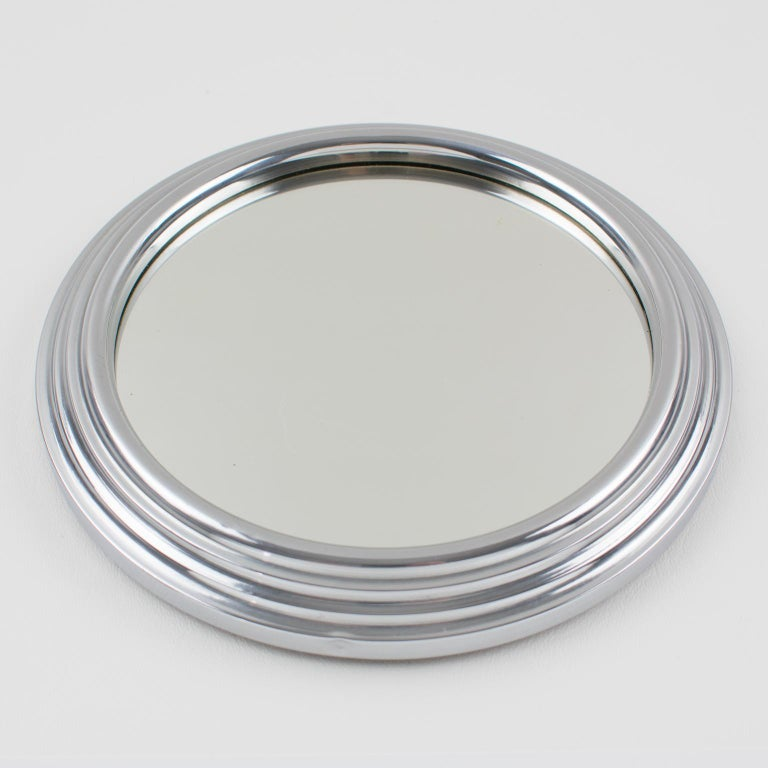 Glass Art Deco Machine Age Chrome and Mirror Cocktail Serving Tray For Sale