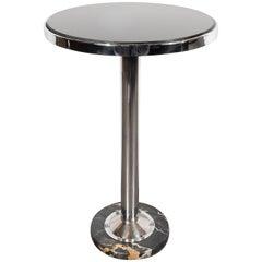 Art Deco Machine Age Chrome, Marble and Vitrolite Drinks Table