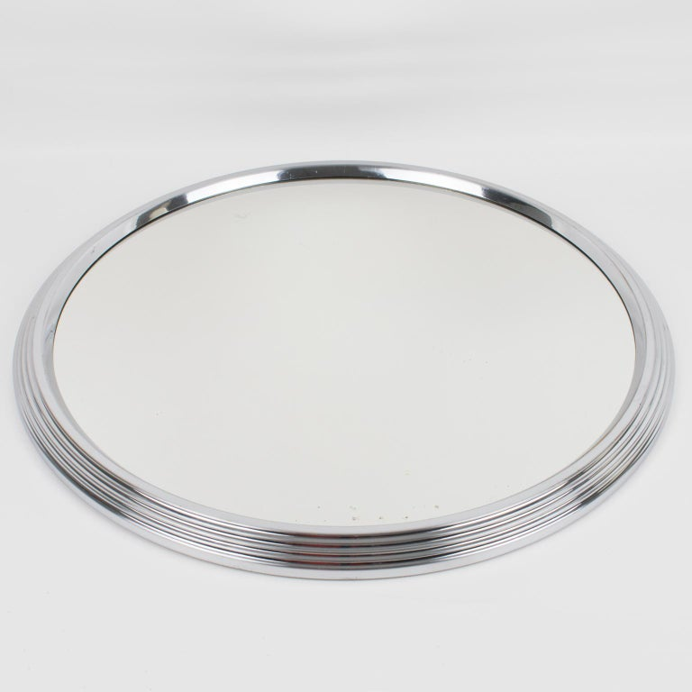 French Art Deco Machine Age Chrome Mirror Barware Cocktail Tray For Sale