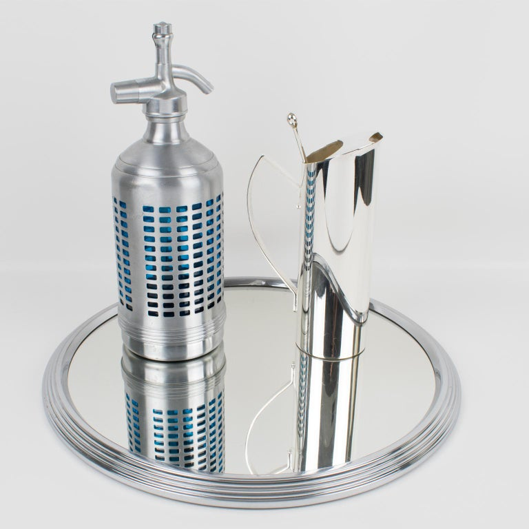 Art Deco Machine Age Chrome Mirror Barware Cocktail Tray In Good Condition For Sale In Atlanta, GA