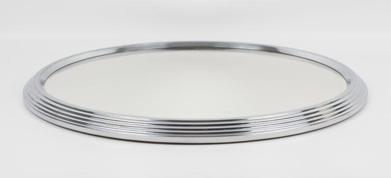 Mid-20th Century Art Deco Machine Age Chrome Mirror Barware Cocktail Tray For Sale