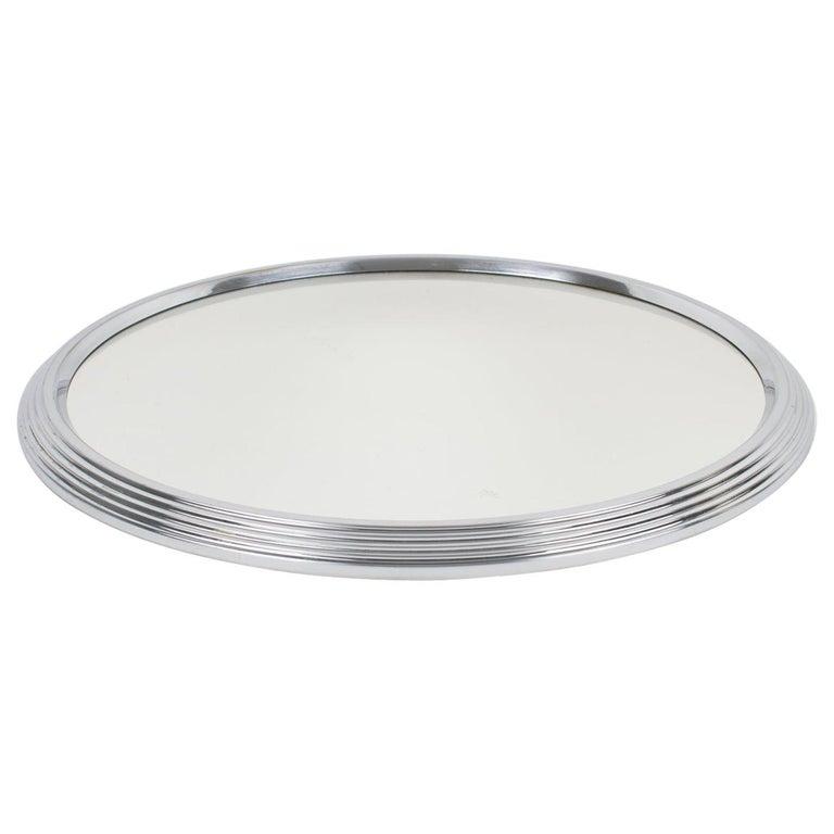 Art Deco Machine Age Chrome Mirror Barware Cocktail Tray For Sale