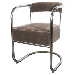 Art Deco Machine Age Chrome Side Chair in Brown Topaz Mohair by Gilbert Rohde