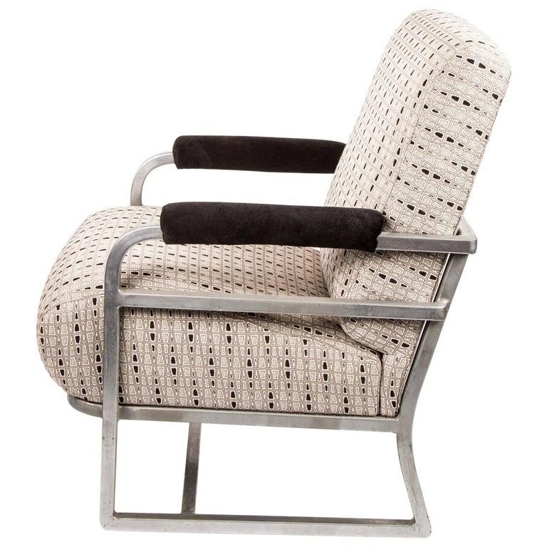 Art Deco machine Age Chrome Steel Lounge Chair after Raymond Loewy For Sale