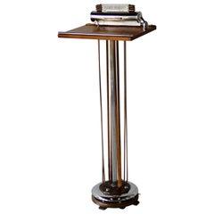 Art Deco Machine Age Chrome with Copper Trim Maitre'd Stand or Check in Podium