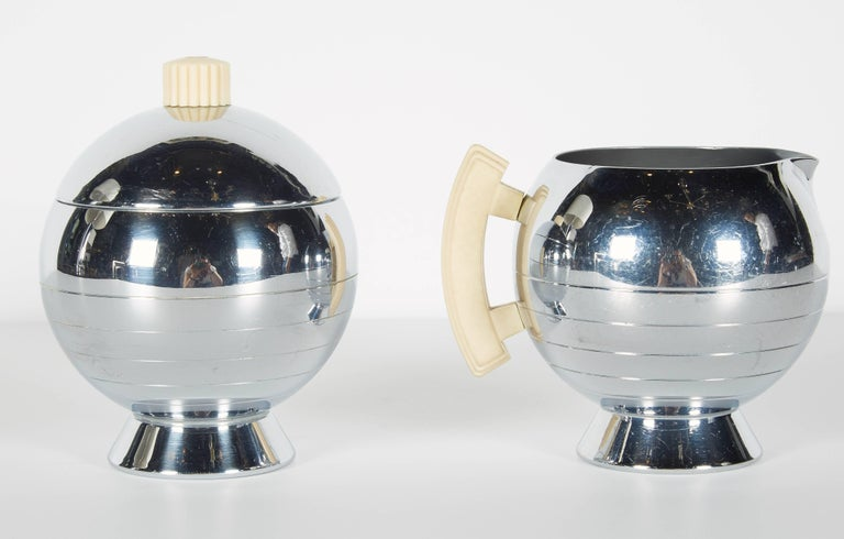Mid-20th Century Art Deco Machine Age Coffee Service Set by Walter Von Nessen for Chase For Sale