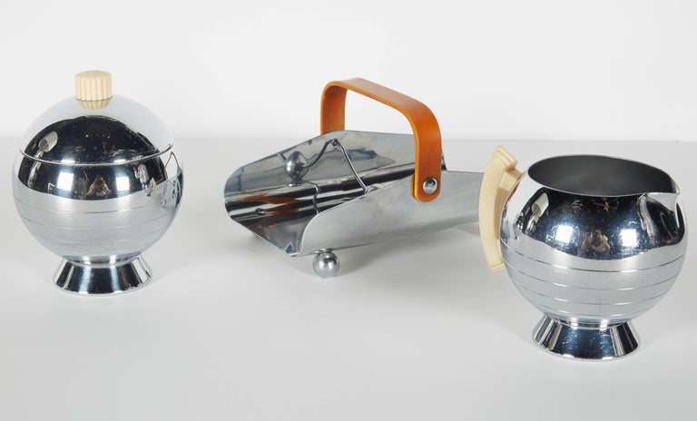 Chrome Art Deco Machine Age Coffee Service Set by Walter Von Nessen for Chase For Sale