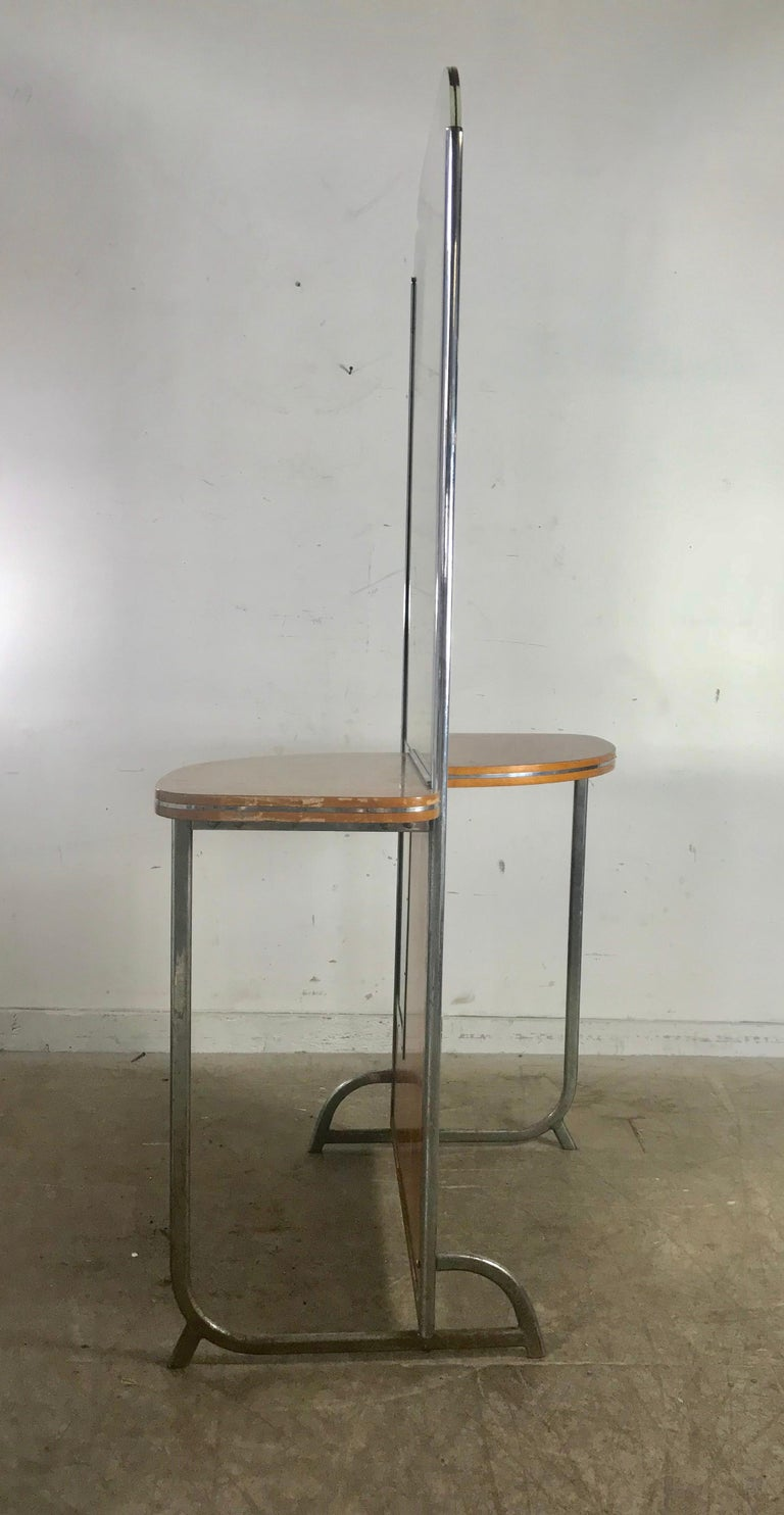 Art Deco machine age double-sided theater dressing room table, vanity mirror, elegant and super stylish, amazing detailing. Tubular chrome and birch, double-sided, exact design, reverse, salvaged from an old theater in New York city, retains