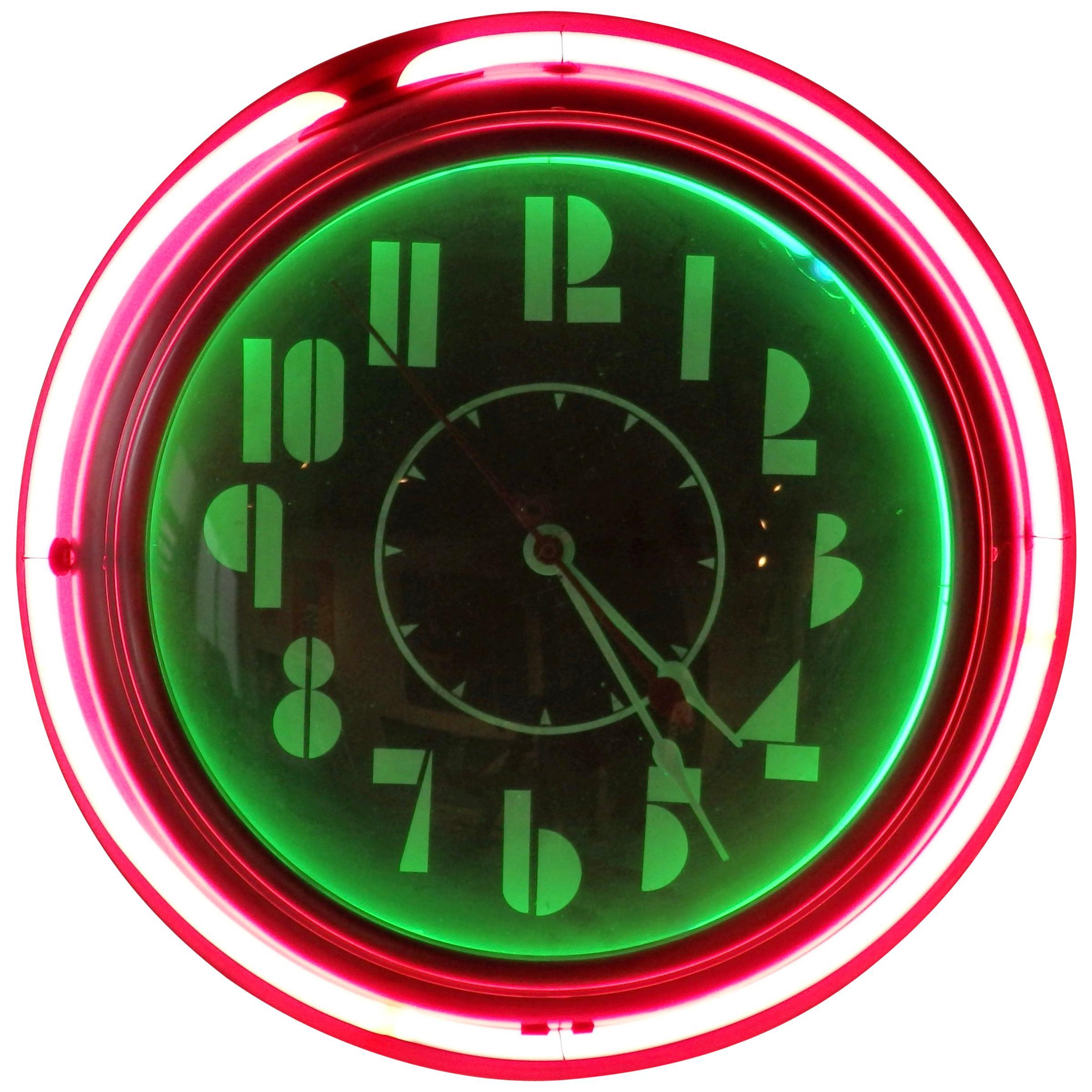 Art Deco Machine Age Face Two-Tone Round Neon Clock