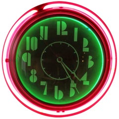 Art Deco Machine Age Face Two-Tone Round Neon Clock