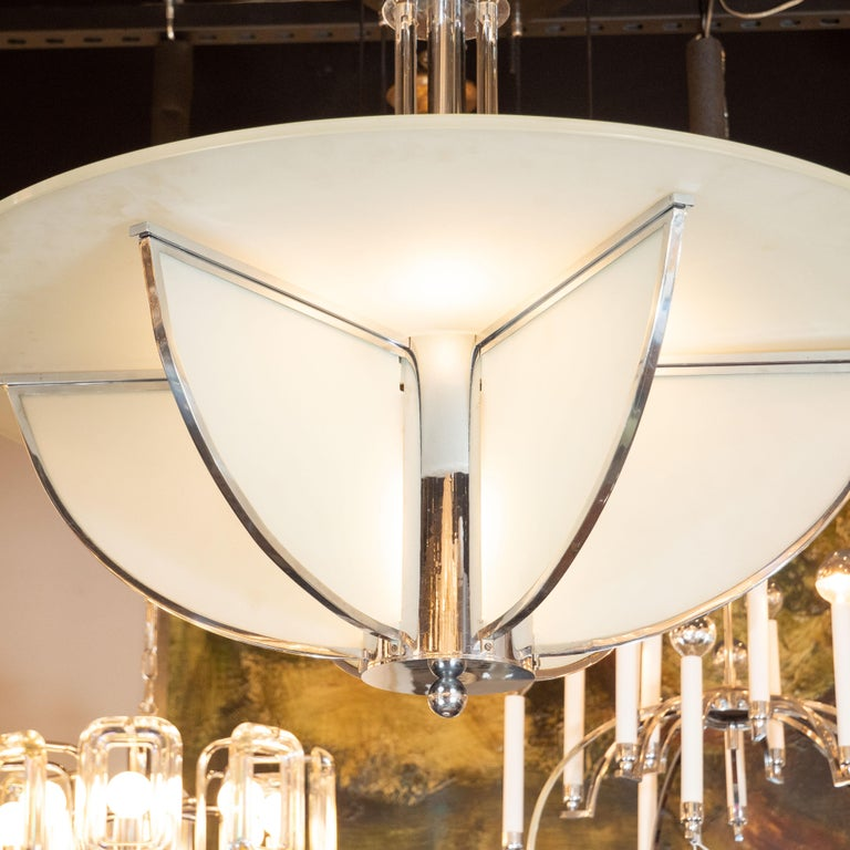 French Art Deco Machine Age Frosted Glass Chandelier, Chrome and Glass Rod Detailing For Sale