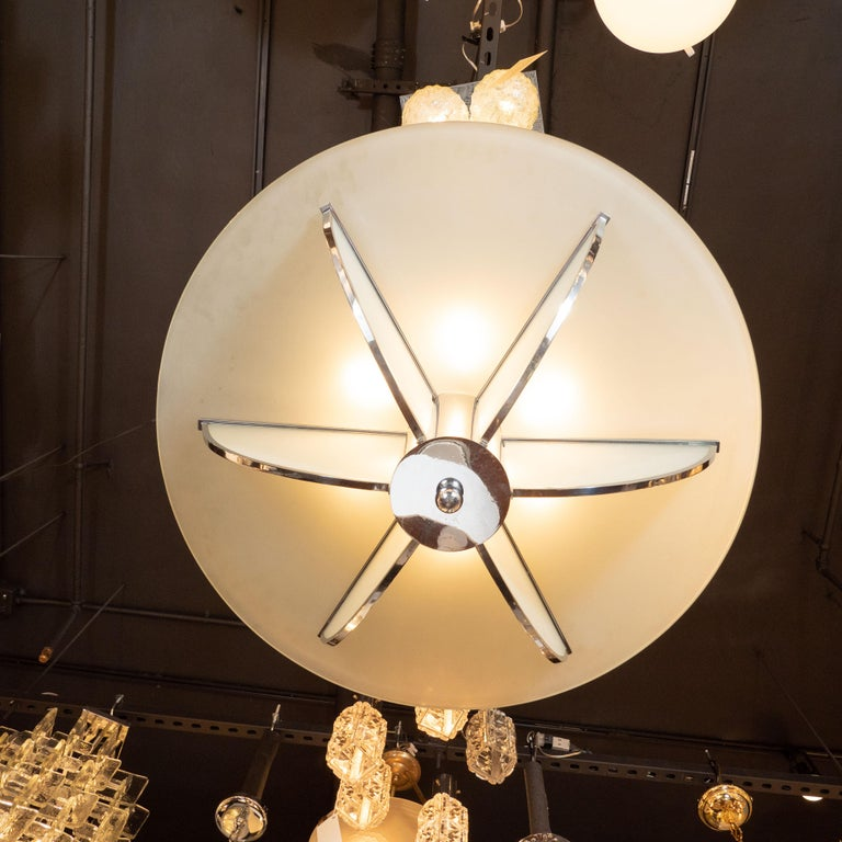 Mid-20th Century Art Deco Machine Age Frosted Glass Chandelier, Chrome and Glass Rod Detailing For Sale