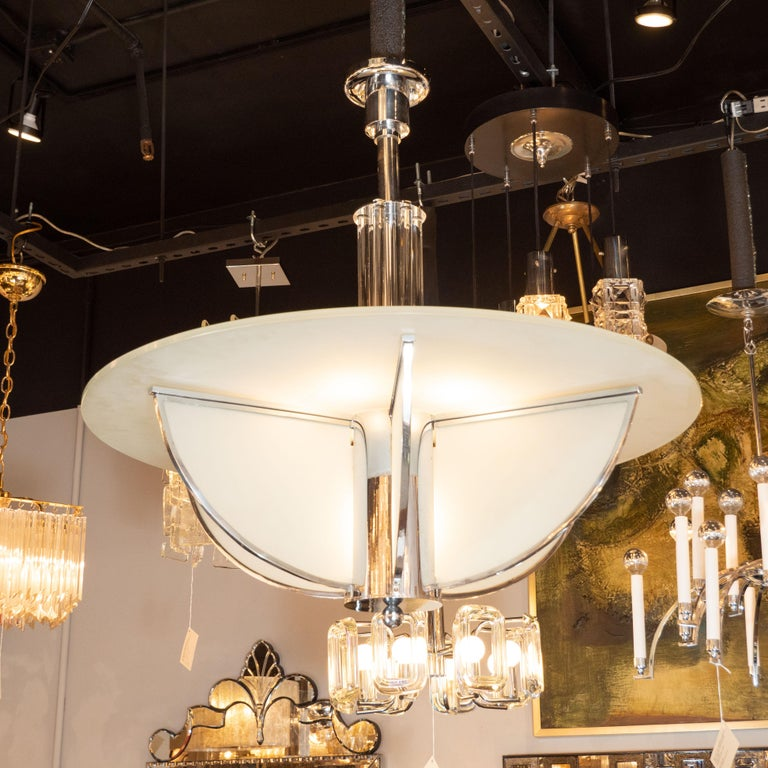 Art Deco Machine Age Frosted Glass Chandelier, Chrome and Glass Rod Detailing For Sale 1