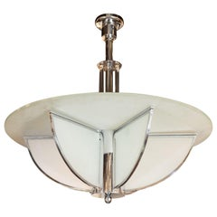 Art Deco Machine Age Frosted Glass Chandelier, Chrome and Glass Rod Detailing