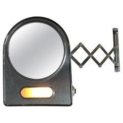 "Art Deco / Machine Age Illuminated Scissor ""accordion"" Wall Mount Mirror"