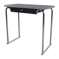 Art Deco Machine Age International Style Chrome & Black Console Table Rohde Attr