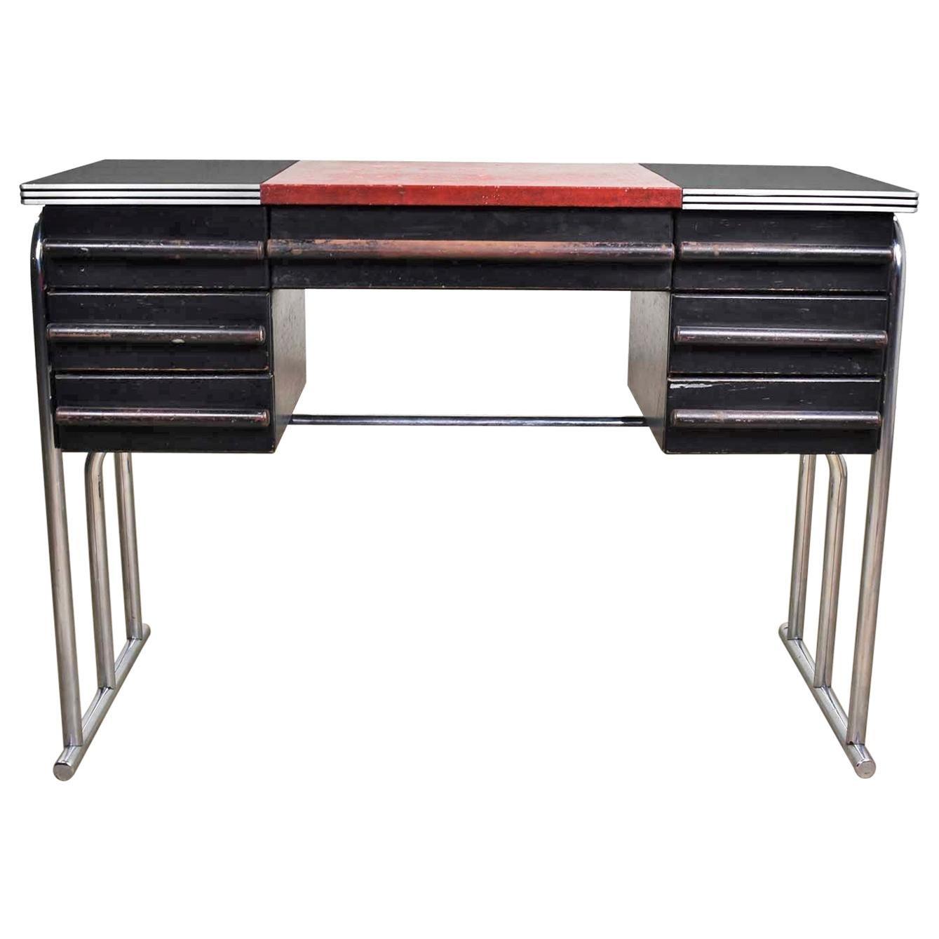 Art Deco Machine Age International Style Chrome & Black Desk Gilbert Rohde Attr