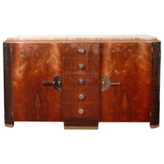 Art Deco Machine Age Macassar & Mahogany Sideboard with Streamlined Nickel Pulls