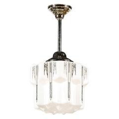 Art Deco Machine Age Milk Glass Pendant w/ Curvilinear Black Etched Details