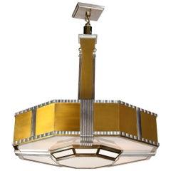 Art Deco Machine Age Monumental Skyscraper Style Aluminum and Brass Chandelier